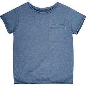 Mini boys denim blue crew neck t-shirt