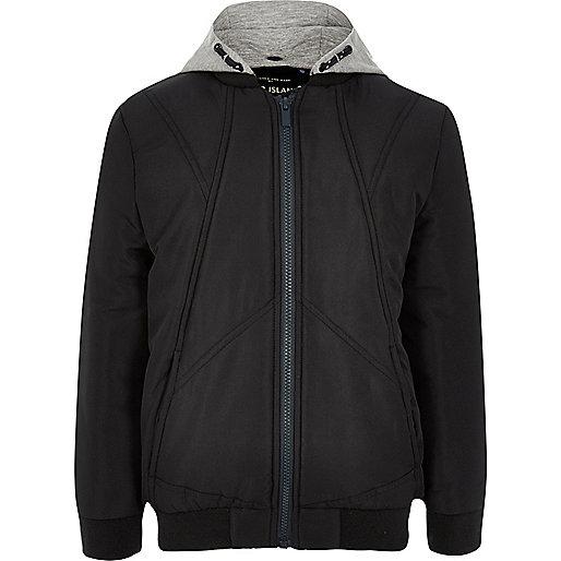 Boys navy padded bomber jacket with hood
