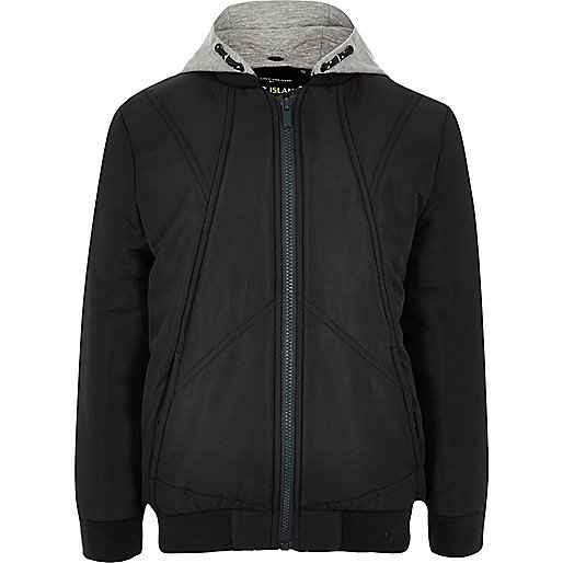 Boys navy padded bomber jacket with hood