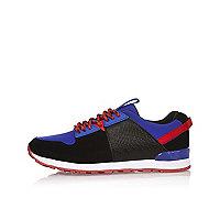 Boys bright blue croc effect sneakers