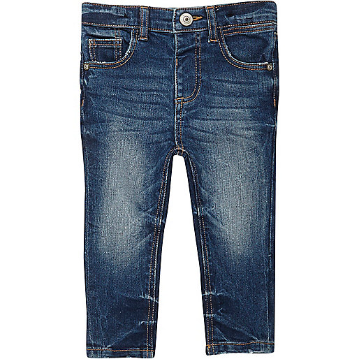 Mini boys mid blue wash skinny jeans
