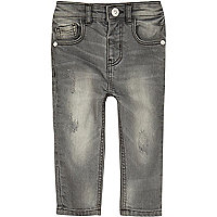 Mini boys grey washed skinny jeans