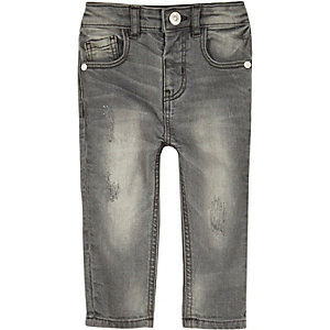 Mini boys grey washed skinny jeans