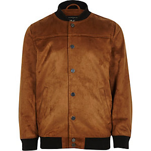 Boys tan faux suede bomber jacket