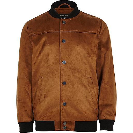 Boys tan faux suede bomber jacket