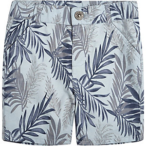 Mini boys blue floral print shorts