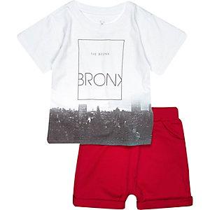 Mini boys blue Bronx t-shirt shorts outfit