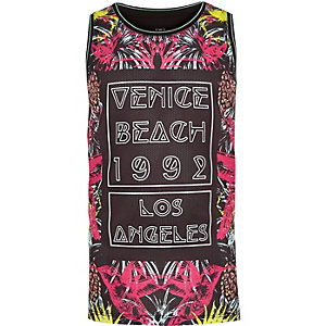 Boys black Venice Beach print tank