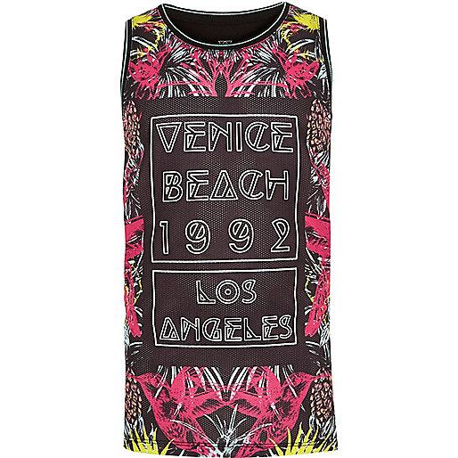 Boys black Venice Beach print vest