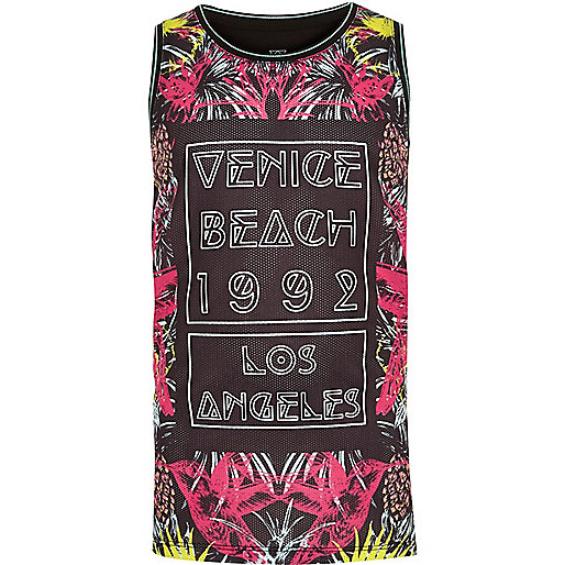 Boys black Venice Beach print tank