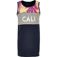 Boys black Cali print vest