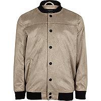 Boys grey faux suede bomber jacket