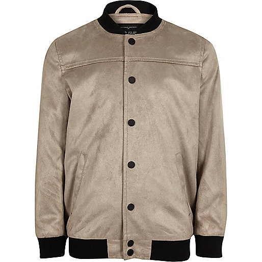 Boys grey faux suede bomber jacket