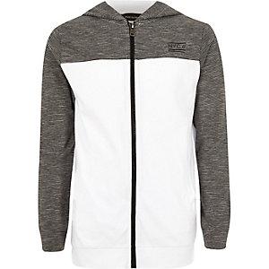 Boys grey colour block hoodie