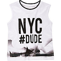 Mini boys white NYC print vest