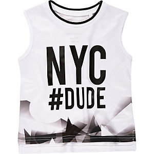 Mini boys white NYC print vest