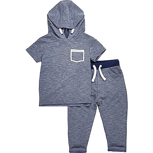 Ensemble pantalon de jogging et sweat à capuche bleu mini garçon