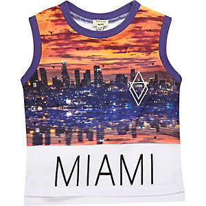 Mini boys black Miami print vest