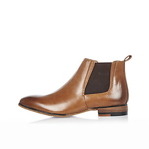 Boys brown burnished Chelsea boots