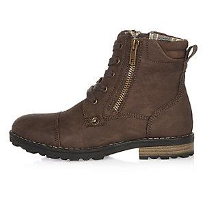 Boys dark brown work boots