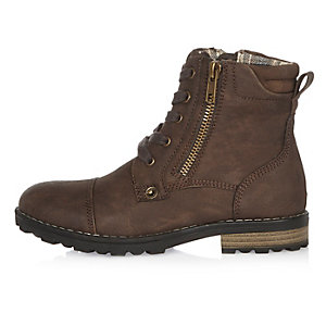 Boys dark brown work boots