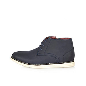 Boys navy wedge boots