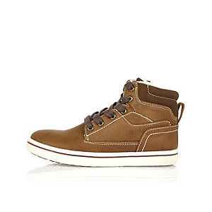 Boys brown borg lined boots