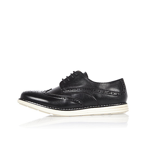Boys black wedge brogues