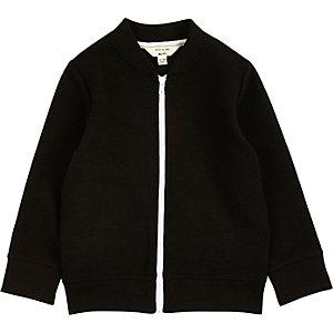 Mini boys black ribbed bomber jacket