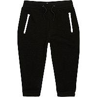 Mini boys black zip joggers