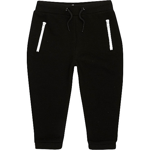 Mini boys black zip joggers