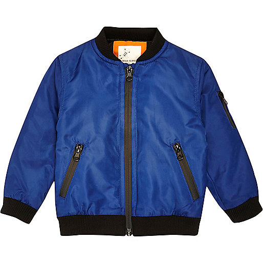 Mini boys blue padded bomber jacket
