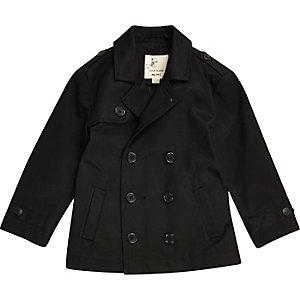 Mini boys black double breasted mac coat