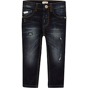 Mini boys dark blue wash Sid skinny jeans