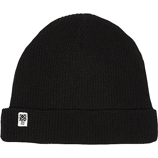 Boys black ribbed beanie