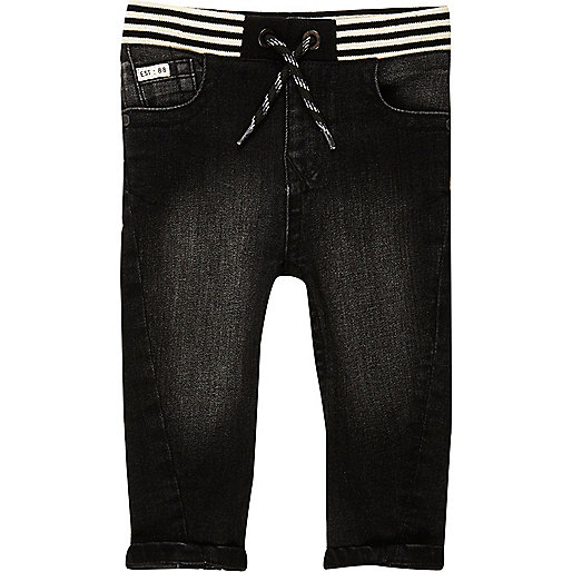 Mini boys black washed ribbed hem jeans