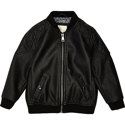 Mini boys black quilted bomber jacket