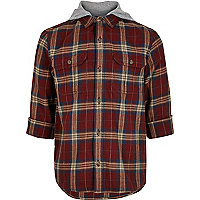 Rust hooded check shacket