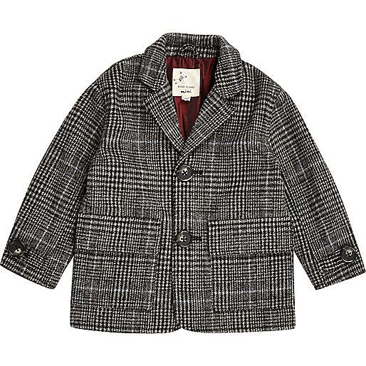 Mini boys grey check overcoat
