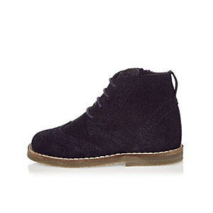 Mini boys navy suede brogue boots