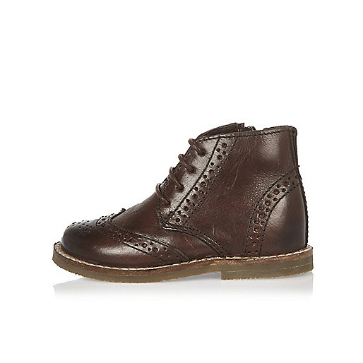 Mini boys brown leather brogue boots
