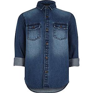 Boys mid blue wash denim shirt