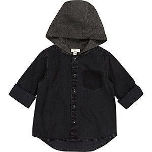 Mini boys black hoodie shirt