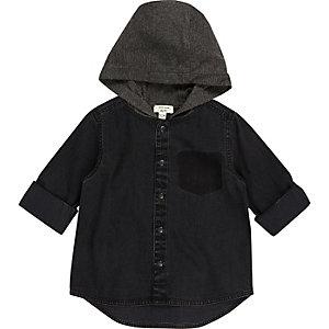Chemise noire à capuche mini garçon