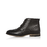 Boys black brogue boots