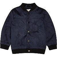 Mini boys navy faux suede bomber jacket