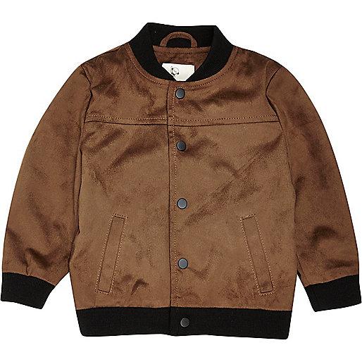 Mini boys tan faux suede bomber jacket