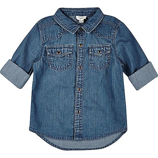 Mini boys vintage wash denim shirt