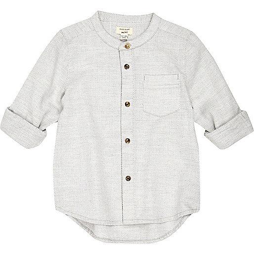 Mini boys ecru textured grandad shirt