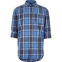 Chemise à carreaux bleue brossée pour garçon